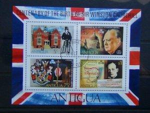 Barbuda 1974 Sir Winston Churchill Miniature Sheet Used