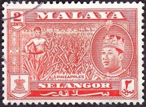 MALAYA SELANGOR 1962 2c Orange-Red SG130 Fine Used