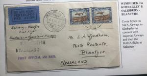 1934 Windhoek South West Africa First Flight Cover FFC To Blantyre Nyasaland