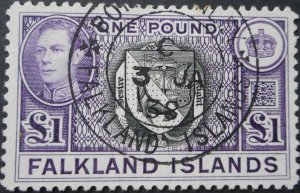 Falkland Islands 1938 GVI One Pound SG 163 first day cancel used