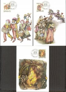 Liechtenstein 1983 Carnival and Fasting Customs 3 Maxi Cards FDC