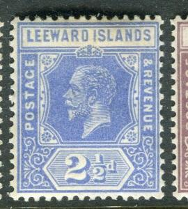 LEEWARD ISLANDS; 1921 early GV issue fine Mint hinged 2.5d. value,