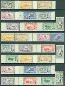 EDW1949SELL : FALKLAND ISLANDS 1952 Scott #107-15. All VF, Mint NH. Catalog $385