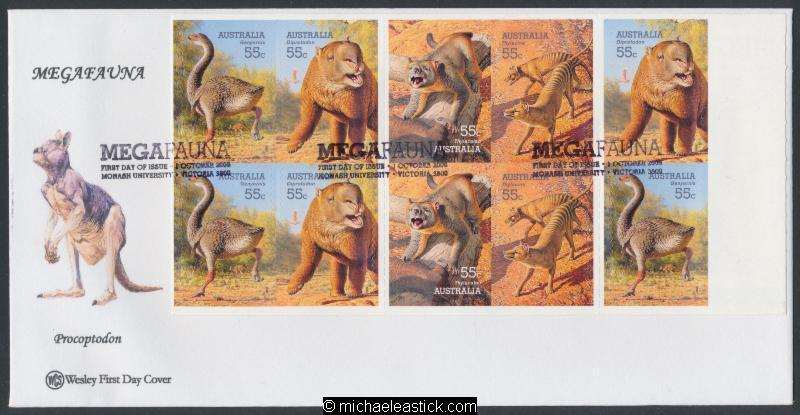 01-Oct-2008 Australia Megafauna Booklet Wesley First Day Cover