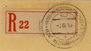 BÖHMEN u. MAHREN 1943  GROSS-MESERITSCH - STUDNITZ  TPO n°542a on R-Zettel