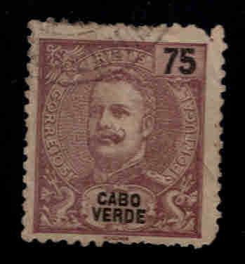 Cabo or Cape Verde Scott 48 Used King Carlos stamp pulled perf at top