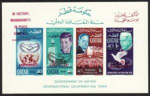 1966 Qatar JFK U.N Headquarters Imperf SS red O/P revalued MNH Sc# 118E / 118H
