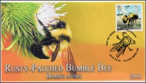 CA18-020, 2018, Bees, Rusty-patched Bumble Bee, Day of Issue, FDC,
