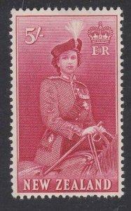 NEW ZEALAND 1953 Queen on Horseback 5/- MNH - cat NZ$60.....................J139