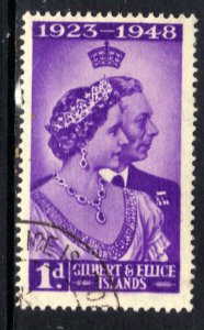 Gilbert & Ellice Islands 1948 KGV1 1d Silver Wedding used SG 57( H1138 )