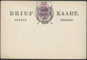ORANGE FREE STATE 2d on postcard opted 1½d and Arms, unused................57021