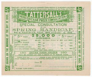 (I.B) Australia Cinderella : Tattersall's Ticket 5/- (Randwick 1899)