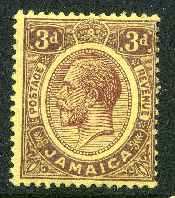JAMAICA;  1912-20 early GV issue fine Mint hinged value 3d.