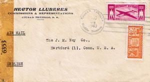 Dominican Republic 3c Re-election of Trujillo and 10c Plane 1943 Ciudad Truji...