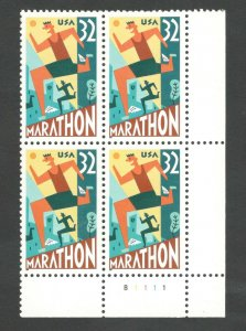 3067 Marathon Plate Block Mint/nh (Free Shipping)