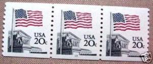 USA 1895 20c Flag, Plate strip of 3, #13, MNH, VF