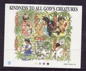 Tonga-Sc#859- id2-Unused NH imperforate sheet-Kindness to All God's Creatures-19