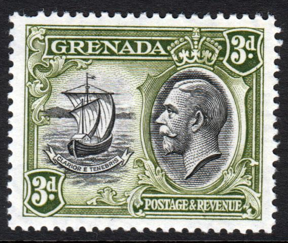 Grenada KGV 1934 3d Black Olive-Green SG140 Mint Lightly Hinged
