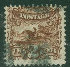 US #113 2¢ brown, used, strong color, F/VF, Scott $100.00