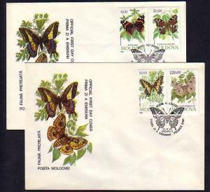 Moldova, Scott cat. 94-97. Butterflies issue on 2 First day covers.