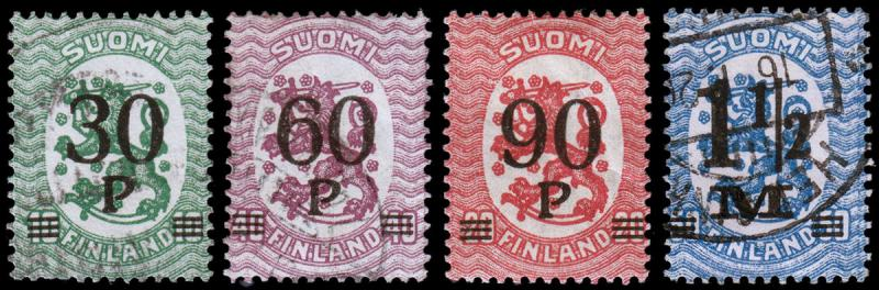 Finland Scott 123-126 (1921) Used/Mint H F-VF Complete Set
