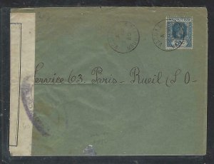 MAURITIUS COVER (P1311B) 1940 KGVI 20C CENSOR IN MAURITIUS TO FRANCE