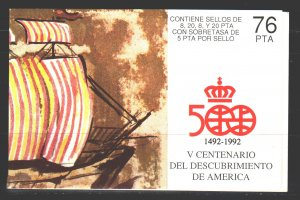 Spain. 1990. booklet 2656-59. 500 years of the discovery of America sailboats...