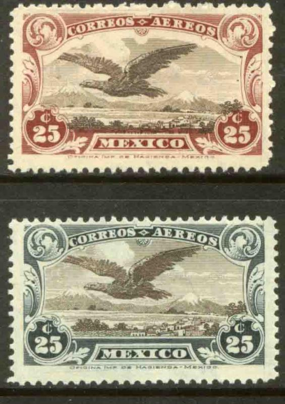 MEXICO C3-C4 Early Air Mail set of two. MINT, NH. F-VF.