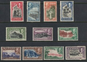 Sc# 264 / 274 Ceylon 1935 - 1936 *MNH KGV portrait type set to 1r  CV **$140.00