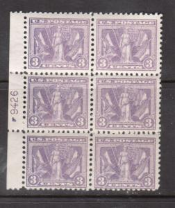 USA #537 Mint Fine - Very Fine Never Hinged Plate Block Of Six