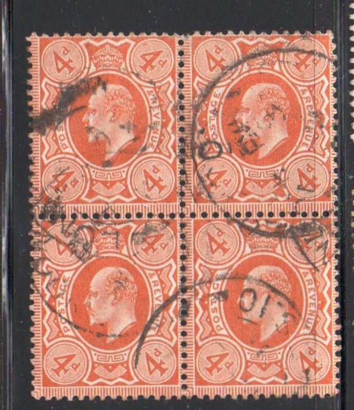 Great Britain Sc 144 1910 4d pale orange Edward VII stamp block of 4 used