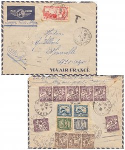Indochina 37c Governor-General Paul Doumer and reverse franked 3c and 7c Towe...