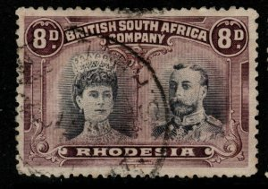 RHODESIA SG185 1910 8d BLACK & PURPLE p13½ USED
