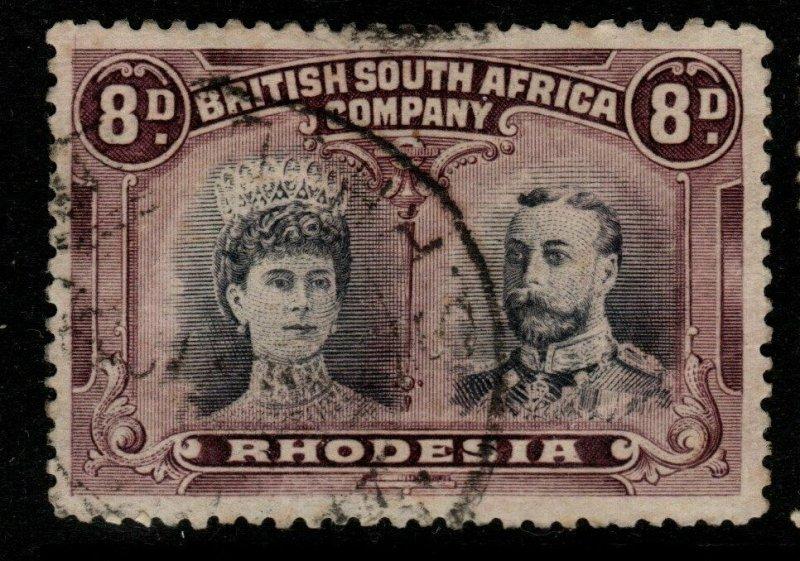 RHODESIA SG185 1910 8d BLACK & PURPLE p13½ USED