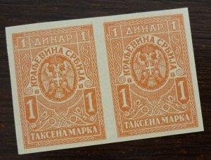Serbia c1919 Yugoslavia PROOF Revenue Stamps - Pair  C7