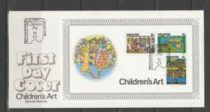Singapore FDC 1977 Childens Art MS, SG MS314