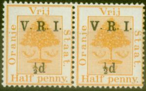 Orange Free State 1900 1/2d on 1/2d Orange SG112f Small 1/2 Pair with Normal...