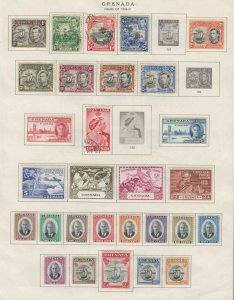GRENADA 3 ALBUM PAGES COLLECTION LOT x65 GEORGE VI + ALL APPEAR TO BE SOUND