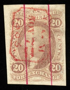 B463 U.S. Revenue Scott R41a 20c Foreign Exchange imperforate, red boxed cancel