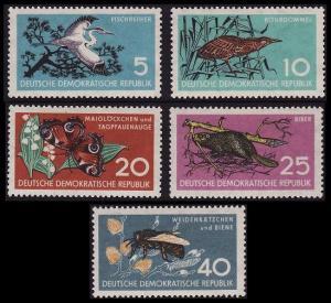 GDR Birds Butterfly Honeybees Nature Preservation 5v 1959 MNH SG#E422-E426