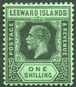 LEEWARD ISLANDS-1923 1/- Black/Emerald Sg 73 MOUNTED MINT V33900
