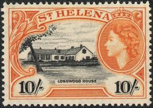 St Helena 1953 QEII 10/- Black and Yellow-Orange MUH