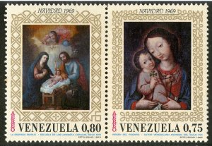 VENEZUELA C1020-1 PAIR MNH SCV $2.40 BIN $1.25 RELIGION