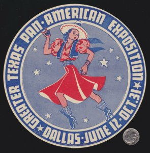 US 1937 Texas Pan-American Expo Cinderella Stamp Dancing Cowgirl SCARCE! Mint NH