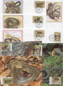 Moldova 8 FDC/cards WWF/Snakes 1993