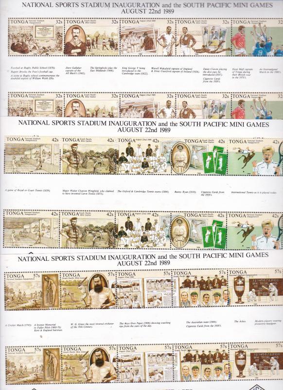 Tonga x 3 MNH blocks (6 strips) from the 1989 Sports set