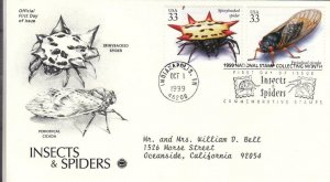 1999, Insects & Spiders-Spiny Backed Spider, Periodical Cicada, PCS, FDC (E7771)