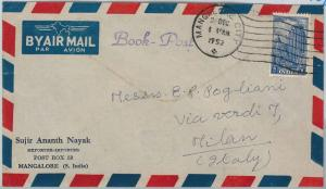 59174  -   INDIA  - POSTAL HISTORY: COVER to ITALY - 1952