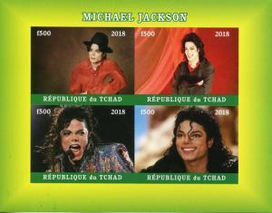 Chad 2018 MNH Michael Jackson 4v IMPF M/S Popstars Celebrities Music Stamps
