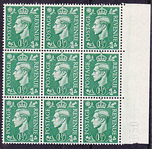 GB GVI 1½d green block of 9 MNH - large Doctor blade marking in margin......3314